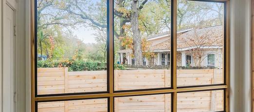 Austin Texas screened in wood framed patio.