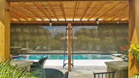 Austin Texas outdoor shades for porch brown sun control fabric.