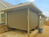 Brown solar fabric Pflugerville Texas outdoor roller blinds.