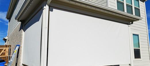 Beige / White 97% exterior sun shades.