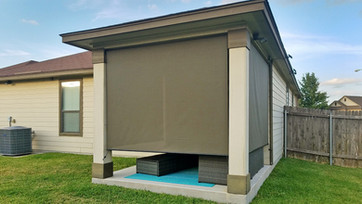 Pflugerville Texas patio solar shades  brown fabric.