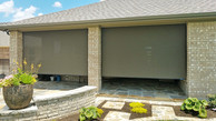Brown solar fabric Round Rock Texas outdoor shades for porch.