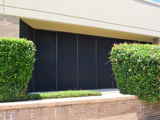 Commercial exterior window shades Austin.