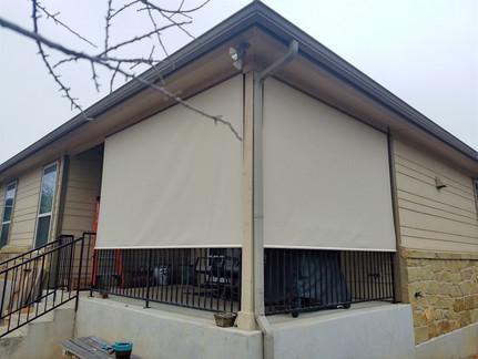 Georgetown retractable patio screens. Beige fabric color.