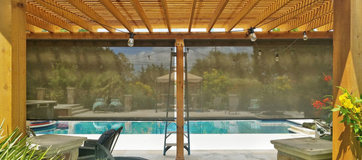Outside shades for patios and pergolas.