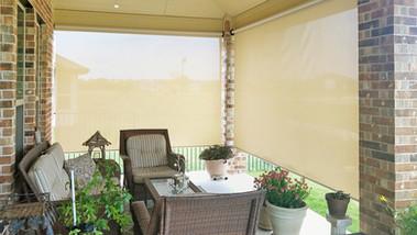 Beige solar fabric color Leander TX sun blocking shades.