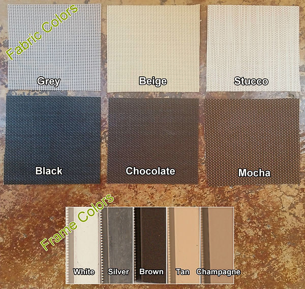 Fabric and Frame samples for Residential Austin TX solar window screens.