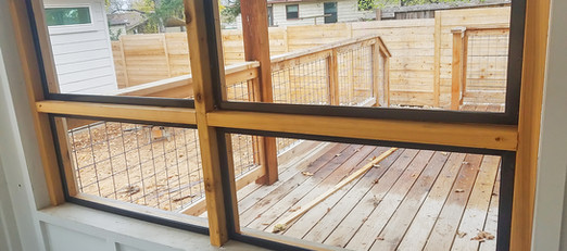 Patio and porch enclosure made of wood.