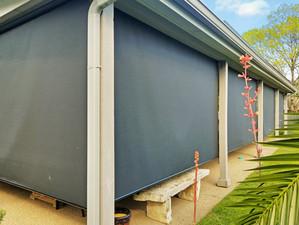 Black sun shade fabric screen porch blinds Cedar Park Texas.