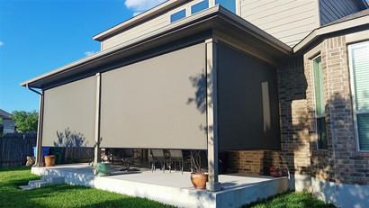 Pflugerville Texas porch shades.
