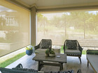 Beige White fabric color outdoor blinds for porch Leander Texas.