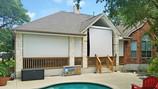 Beige White sun shade fabric porch blinds Pflugerville Texas.