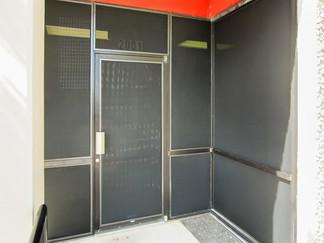 Commercial Austin Texas 90% black solar screens.
