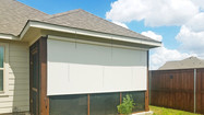 Beige White solar fabric outdoor blinds for porch Round Rock Texas.