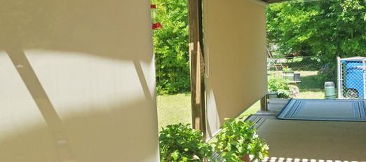 Beige 97% outdoor solar shades.