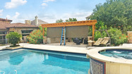 Brown solar fabric Round Rock TX outdoor patio blinds.