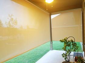 Outdoor patio shades Austin TX Beige solar fabric color.