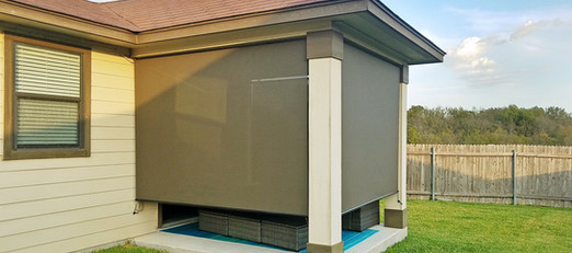 Cover all openings of a patio with outdoor solar shades.