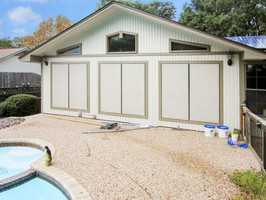 Stucco Solar Screens for these six Austin TX windows.