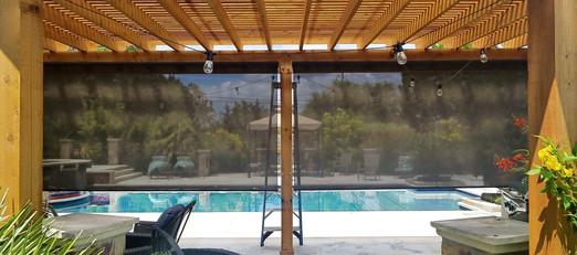 "Austin TX 85"" tall outdoor roll down shades 2020 install."