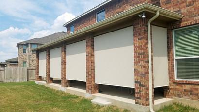 Beige White 97% roll up patio shades, Round Rock Texas.