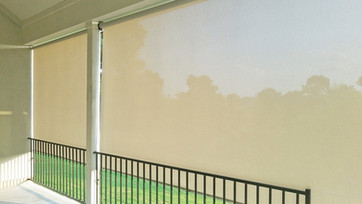 Georgetown Texas outdoor roller blinds grey white solr control fabric.
