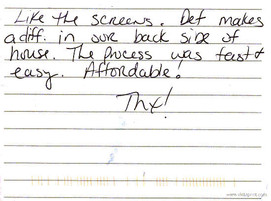 Austin TX Solar Screens 2010 customer re
