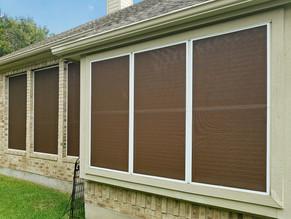 Pflugerville TX solar screens Mocha 90% White.