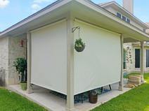 Screen porch shades Pflugerville TX Beige White sun control.