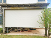 Pflugerville TX outdoor patio blinds Beige White sun shade fabric.