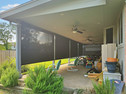 Black sun shade fabric outside blinds for porch Georgetown Texas.