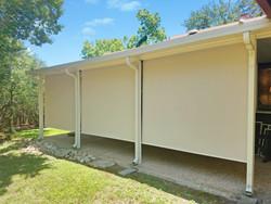 Outdoor patio shades Leander TX Beige solar fabric color.