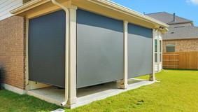 Black sun shade fabric screen porch blinds Round Rock Texas.