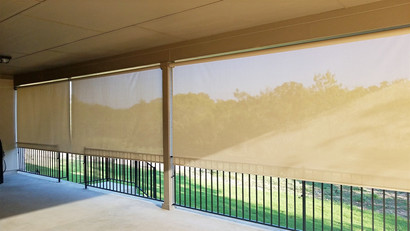 Mounting outdoor sun shades next to each other.