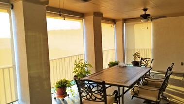 Beige White sun fabric outdoor patio shades Cedar Park TX.