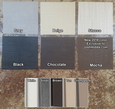 My available color options for solar window screen fabric and framing.