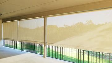 Beige color sun shades for decks Georgetown Texas.