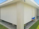 Patio blinds Austin Texas 97% Beige White color.