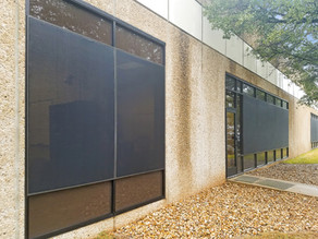 Commercial exterior window shades Austin TX self-install.