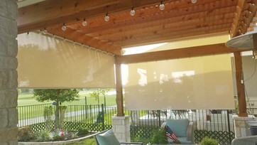 Leander Texas roll up patio shades Beige sun fabric color.