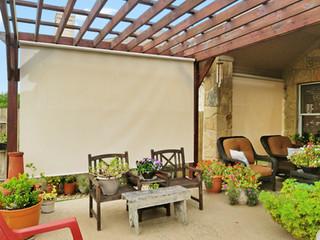 Beige White outdoor solar shades Round Rock TX.