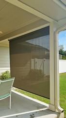 Brown sun shade fabric outside blinds for porch Leander Texas.
