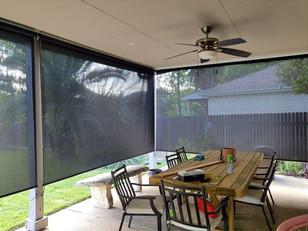 Leander TX outdoor patio blinds.