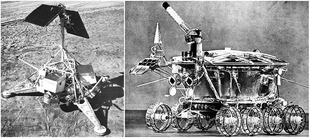 Surveyor VI model and Lunokhod 1 model.