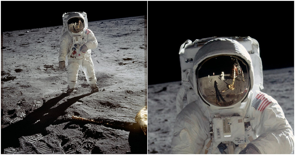 Apollo 11 astronaut Buzz Aldrin walking on the Moon (left) and a reflection of Neil Armstrong taking the photo (right).