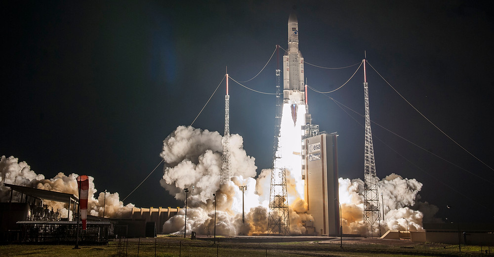 Ariane 5 V243 ascends from the European Spaceport's ELA-3 launch zone on its 100th flight, carrying a dual payload of the Horizons 3e and Azerspace-2/Intelsat 38 telecommunications satellites.