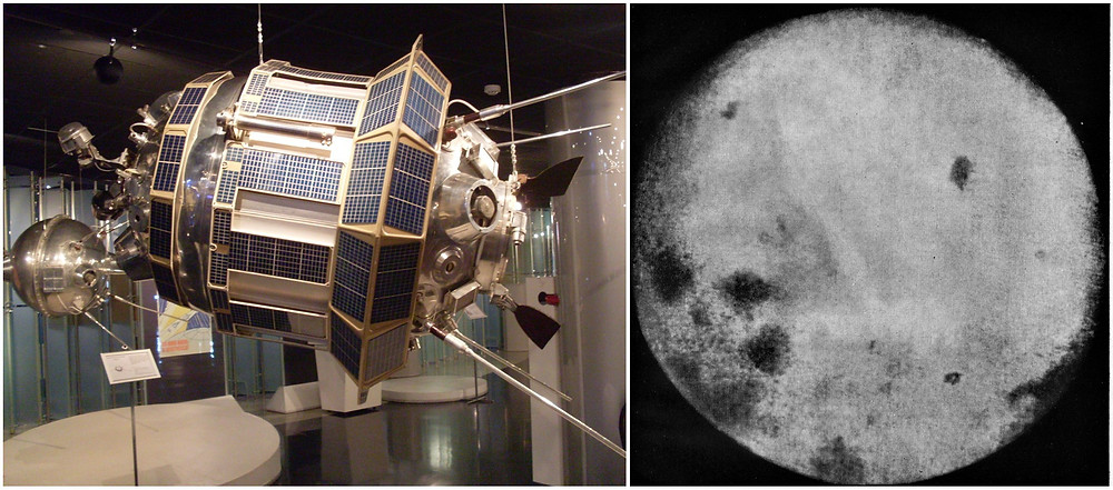 Luna 3 replica and the first photo of lunar far side.