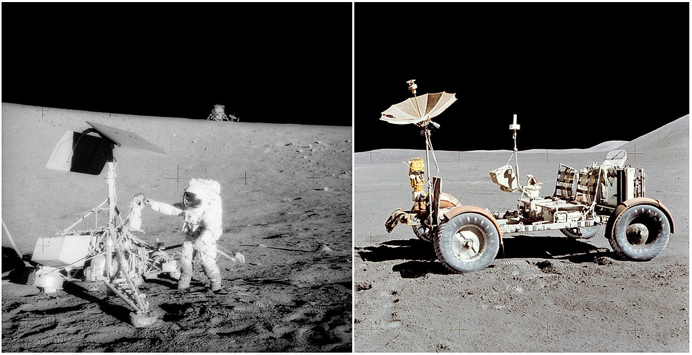 Apollo 12 astronaut Charles Conrad inspecting the Surveyor III lander of 1967 and the first Lunar Roving Vehicle of Apollo 15 mission in 1971. NASA.