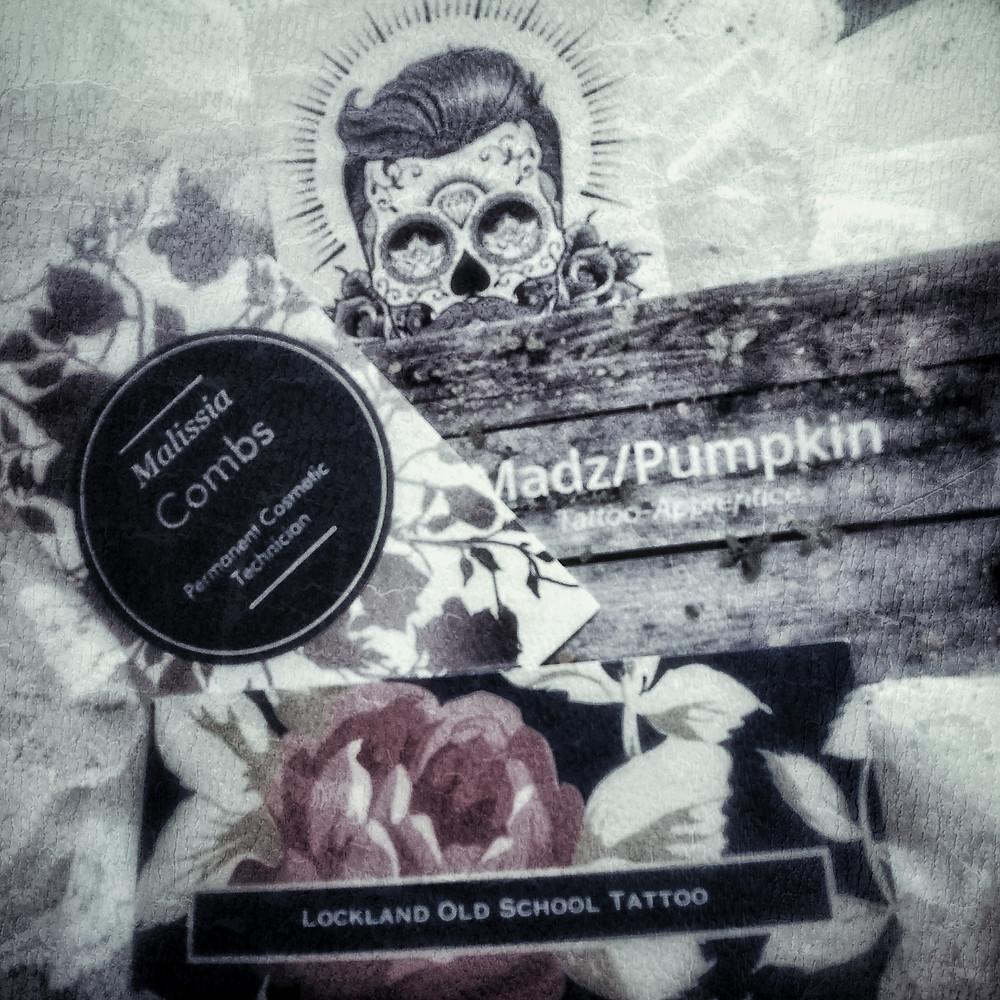 Business cards for Malissia Combs, Pumpkin and Dan Pedigo