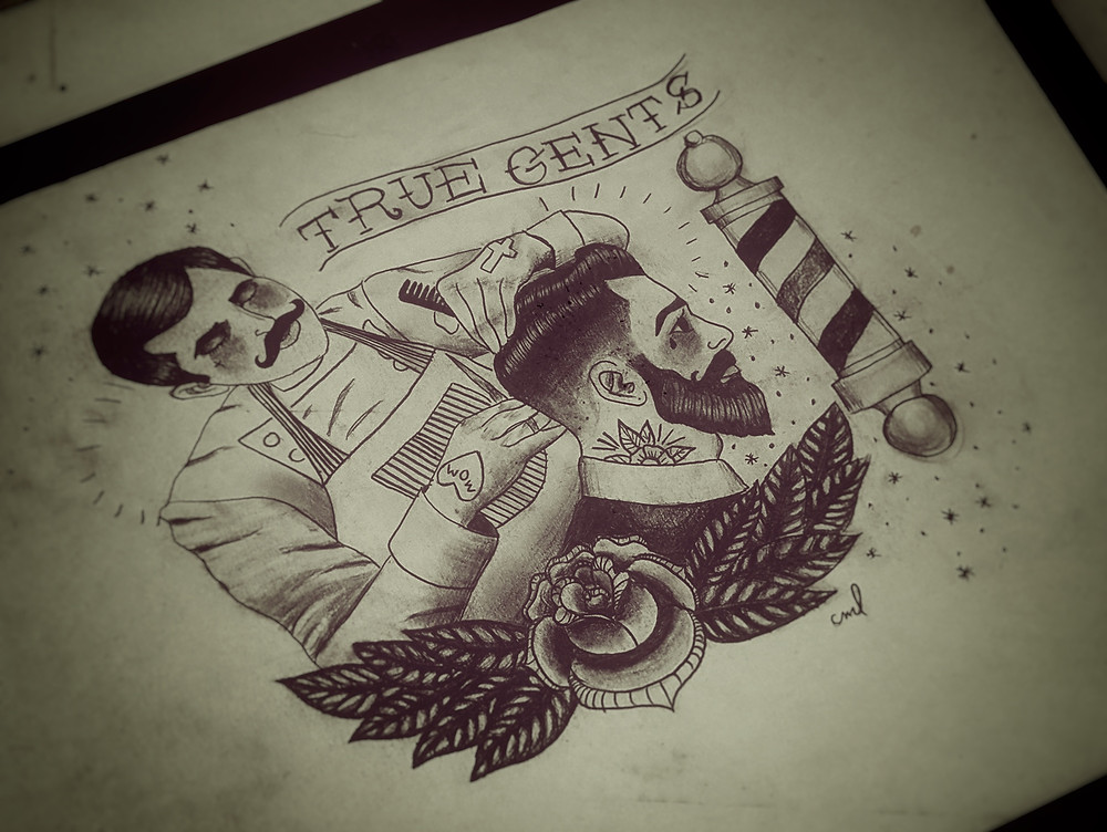 Black and Grey sketch of a barber with a gentlemen getting a fade.